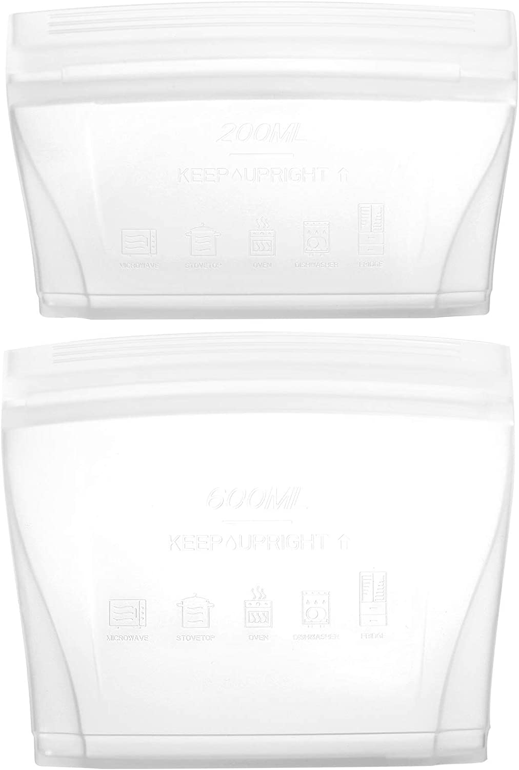 Reusable food container silicone bag, 2 Pcs Zip Sandwich Bags, 100% Platinum Silicone Reusable Snack bag, Stand Up Preservation Bag, Convenient to carry and easy to clean. (2 Bag Set white)…