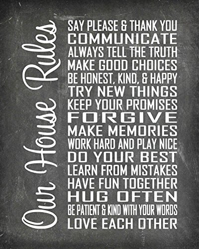 House Beautiful Photo - House Rules - Beautiful Photo Quality Poster Print - Decorate your home with these beautiful prints for kitchen, bath, family room, housewarming gift Made in the USA (8