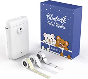 Bluetooth Label Maker, MUNBYN Portable Labeler Wireless Mini Thermal Label Printer with 3 Rolls Label Tape, Name Price Expiration Date Sticker Tag Printer for Home Office and Store Organization