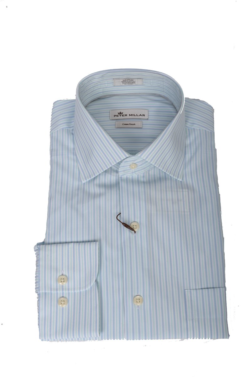 Peter Millar Summer Stripe Sport Shirt (Bay Blue, M)