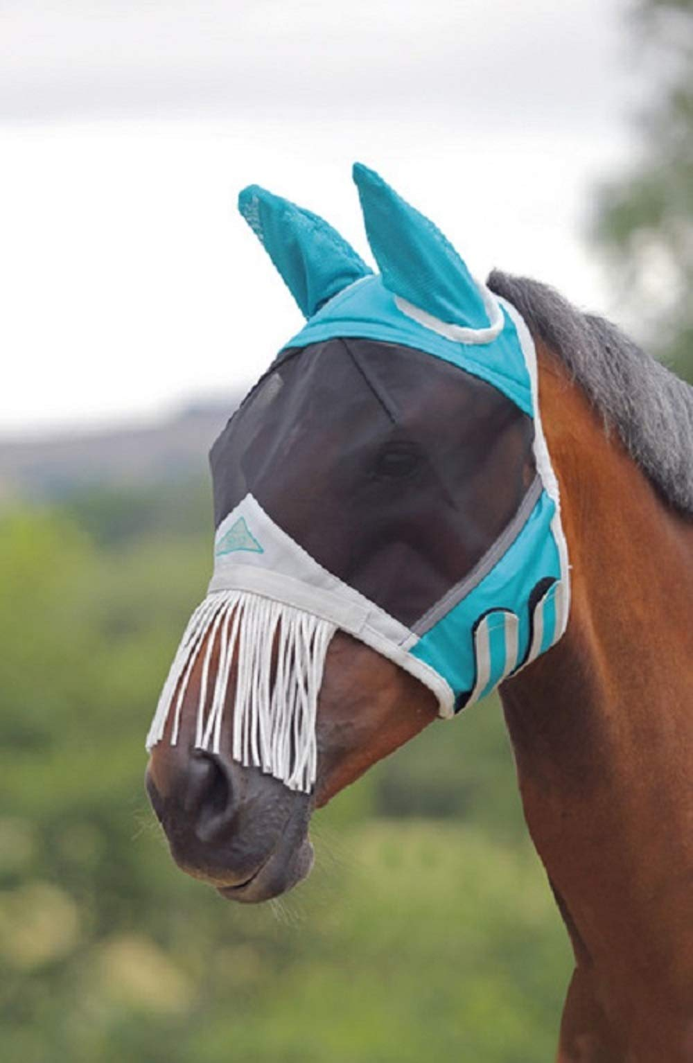 Shires Fine Mesh Horse Equine Fly Mask with Ears and Nose Fringe 60% UV Protection (Full, Teal)