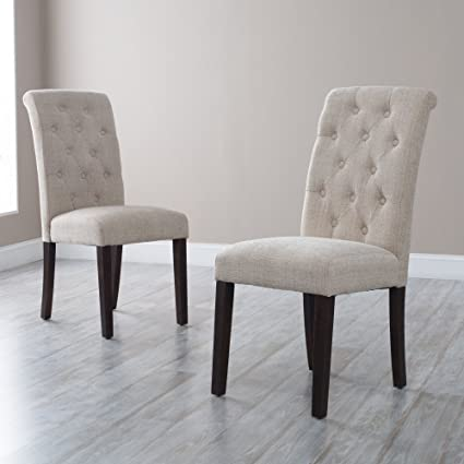 Amazon Com Tufted Parsons Dining Chairs Set Of 2 Chairs