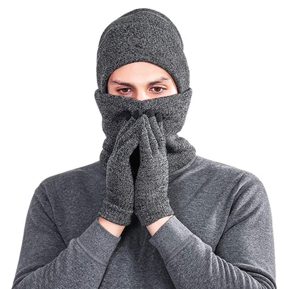 CHIYEEE Cappello Uomo Donna Invernale Berretto Uomo in Maglia con Sciarpa Guanti Set di 3 Pezzia Maglia con Fodera in Pile