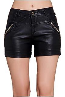 414c7d0435d Lotsyle Faux Leather Shorts PVC Short Pants with Pockets