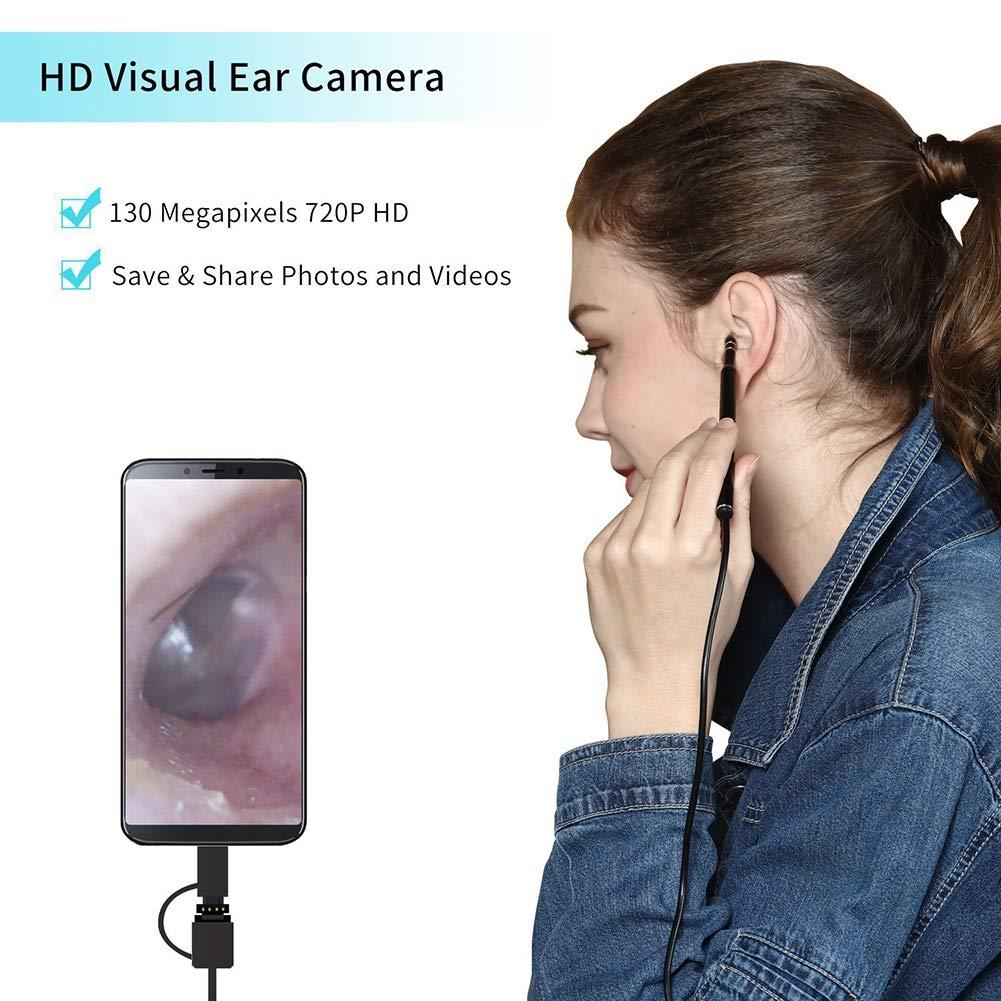 mit 6 verstellbaren LED-Leuchten f/ür iPhone mit 1,3 Megapixel HD Wireless Otoscope wasserdichtes Otoskop Android und Windows Ohrkamera