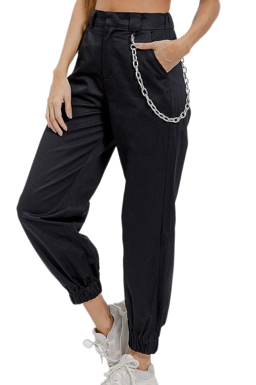 Mujer Pantalones Cargo Hip-Hop Jogger Pantalones Holgados con Cadena para: Amazon.es: Ropa y accesorios