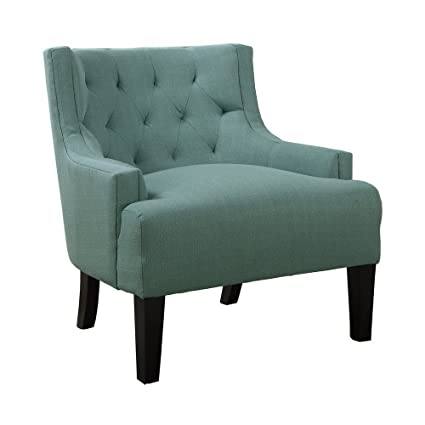 Charmant Poundex Boskone Ansley Microfiber Accent Chair, Light Blue