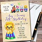 10 x Cute Watercolour Circus Animals Personalized Childrens Birthday Party Invitations