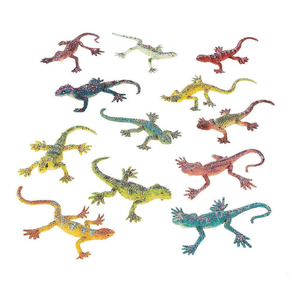Pack of 12 by Kidsco Lizard Toy with Glitter Fun Toy Bag Stuffers Gift for Kids Great Party Favors Prize Pi/ñata Fillers Assorted Colors Glittery Lizard Toys