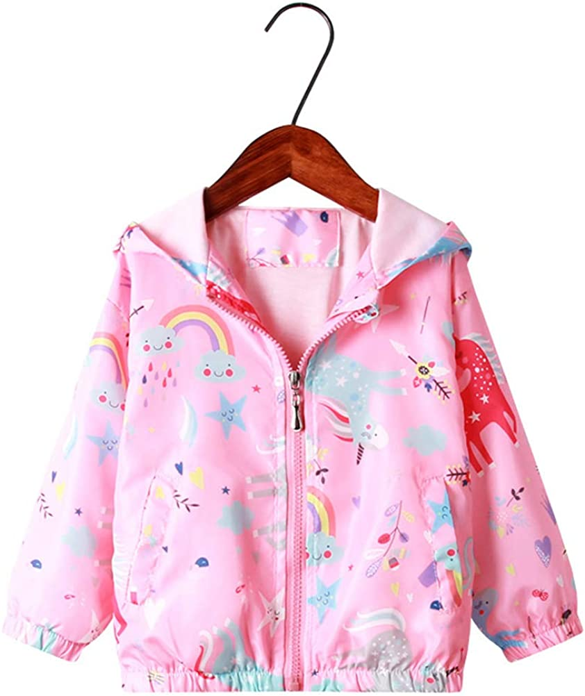 Feidoog Kids Baby Toddler Girls Cartoon Spring Fall Outerwear Windbreaker Zipper Hooded Jackets Coat