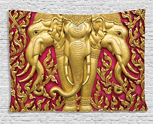 Ambesonne Elephant Tapestry, Yellow Toned Elephant Motif on Door Thai Temple Spirituality Statue Classic, Wall Hanging for Bedroom Living Room Dorm, 60 W X 40 L Inches, Fuchsia Mustard by Ambesonne