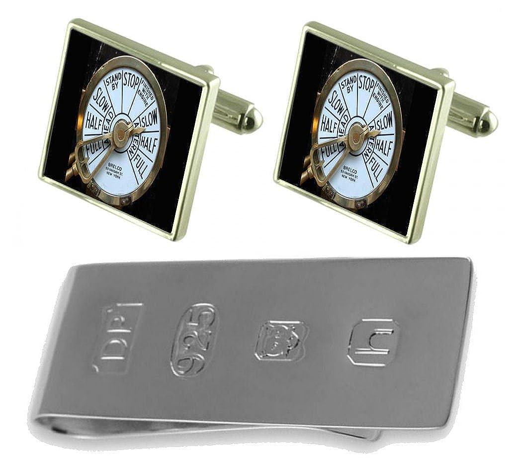 Select Gifts Ship Telegraph Cufflinks /& James Bond Money Clip