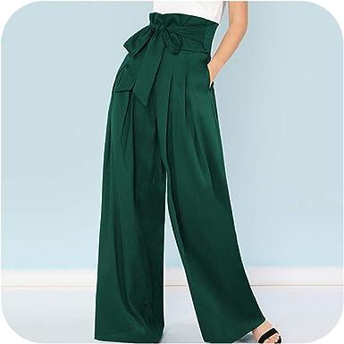 Pantalones Largos Sueltos Y Elegantes Pantalones De Trabajo Para Mujer Cintura Alta Pierna Ancha Verde Medium Amazon Es Ropa Y Accesorios