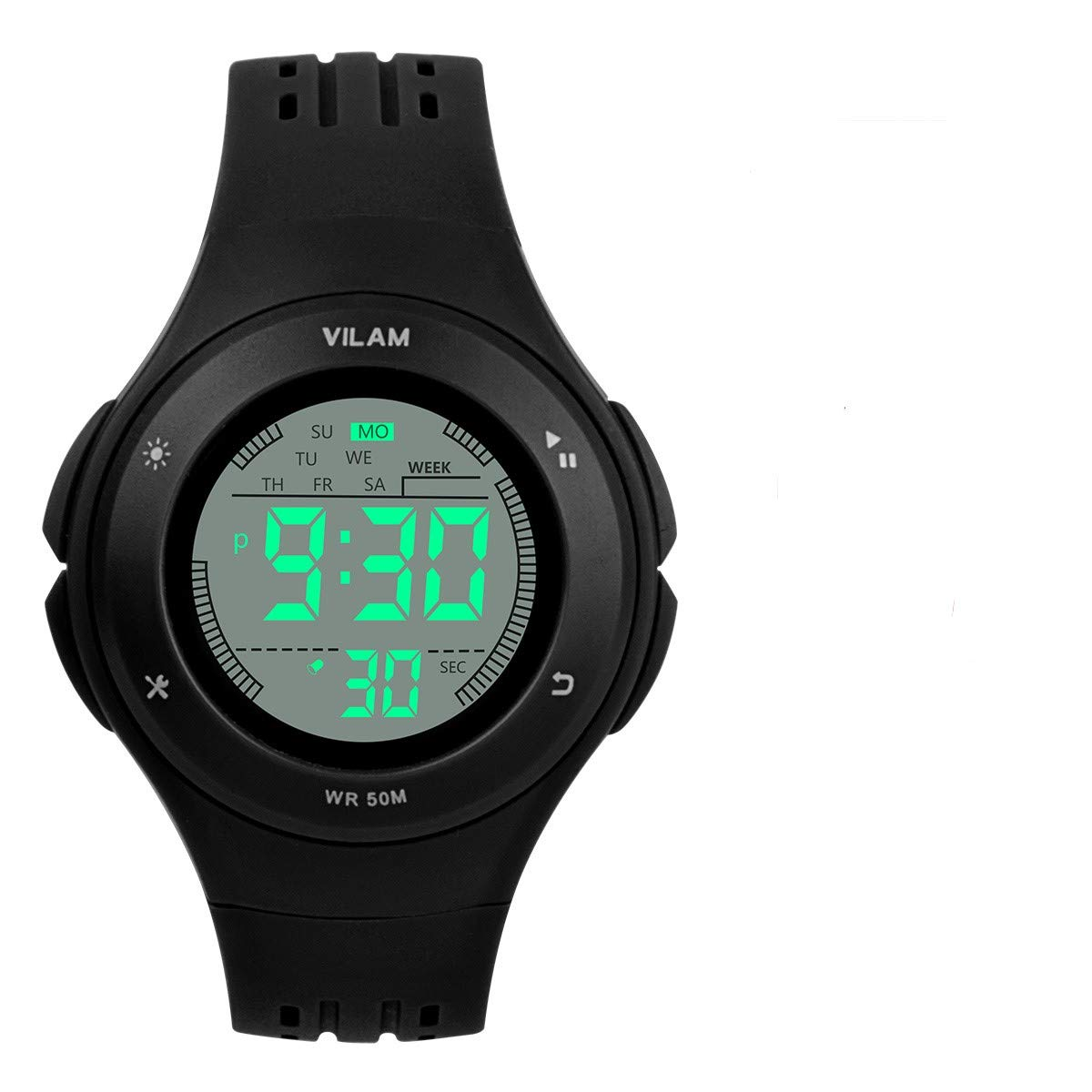 Kids Watch Waterproof Children Electronic Watch - Lighting Watch 50M Waterproof for Outdoor Sports,LED Digital Stopwatch with Chronograph, Alarm, Child Wrist Watch for Boys, Girls - PerSuper (Black) by PERSUPER