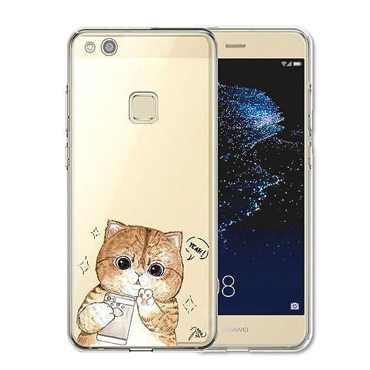 14 opinioni per Huawei P10 Lite Cover , YIGA Moda divertimento gattino Cristallo Trasparente
