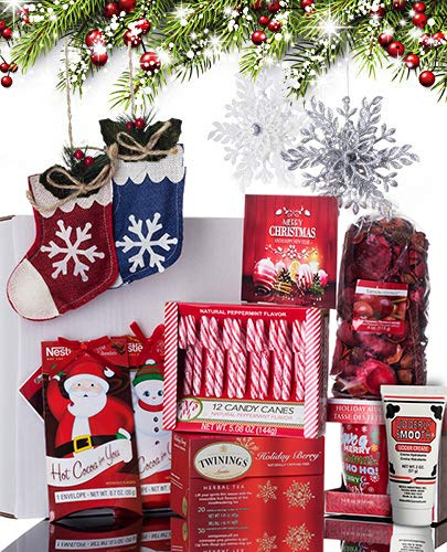 Christmas Gift Basket for Women: Ornaments, Tea, Candy Cane, Mug, Hot Chocolate, Hand Cream, Potpourri Set for Her by Charmed Crates (Image #5)