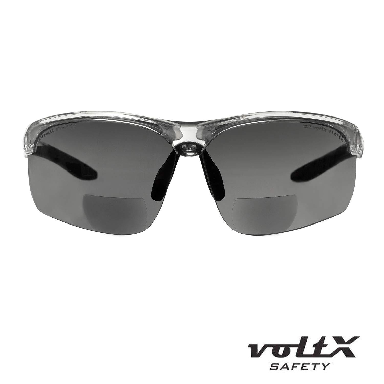 Bifocales Ciclismo PREMIUM UV400 CE EN166FT montura transparente, lentes ahumadas, Dioptr/ía +1.0 Gafas bifocales de seguridad para lectura voltX CONSTRUCTOR ULTIMATE