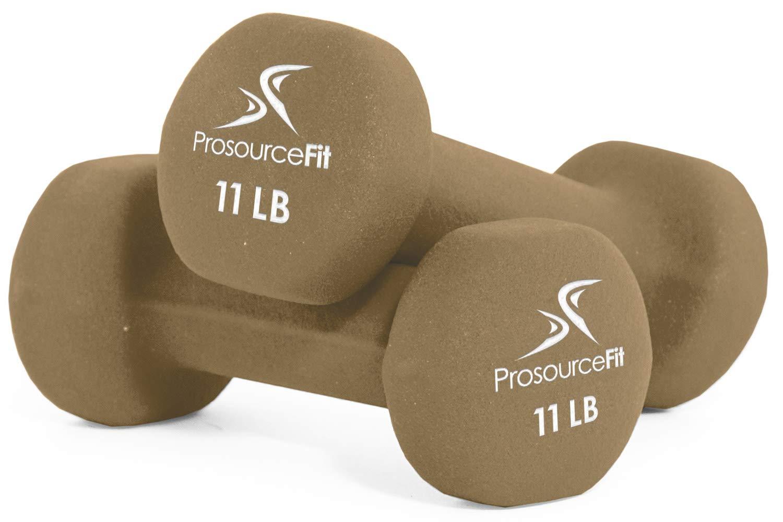 ProsourceFit Set of 2 Neoprene Dumbbell Coated for Non-Slip Grip, Brown-11lb