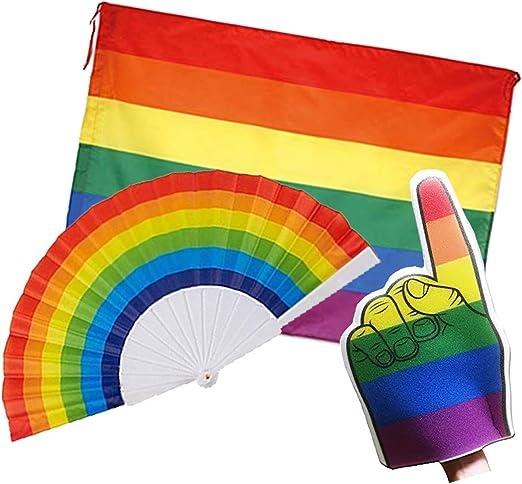 FUN FAN LINE® - Pack Bandera Pride Grande 🏳️🌈, Mano de Espuma ...