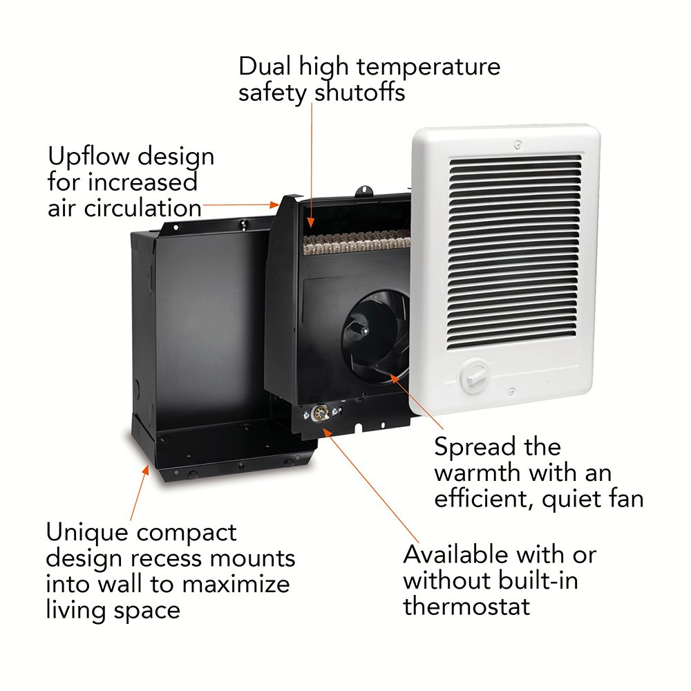 Cadet CSC152TW Com-Pak 1500-Watt, 240V complete wall heater with  thermostat, white - Electric Space Heaters - Amazon.com