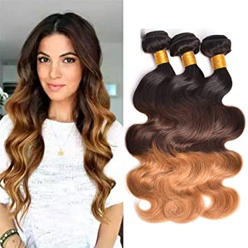 Cheveux Humain Tissage Blonde Ombre Hair Brazilian Hair Tissage Vierge Remy  100% Real Human Hair