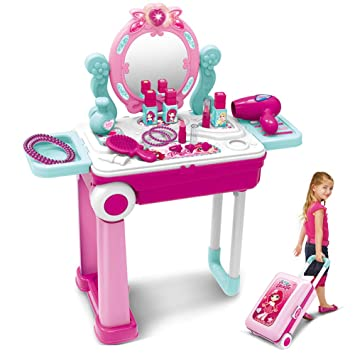 brand new 2b71e 2435e Pretend Play Makeup Toy Set Beauty Princess Dressing Table and Suitcase 2  in 1 Gift for Girls Kids Children,Pink