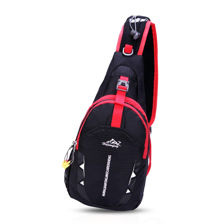 FANDARE Unisexe Sac Poitrine Sling Bag Sacs /à Dos Crossbody Bag Voyage Hiking Bag Cycling Sac Bandouli/ère Trekking D/és/équilibrer Porter des Hommes Femmes Polyester Bleu Clair A
