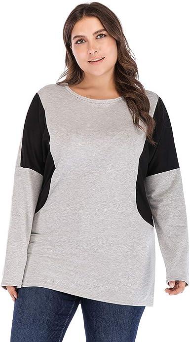 Lover-Beauty Camisa Mujer Talla Grande - Camiseta Plus Size - Camisa Negra Mujer Manga Larga - Camisa Navidad Mujer - Camisa Mujer Casual Cuello Redondo: Amazon.es: Ropa y accesorios