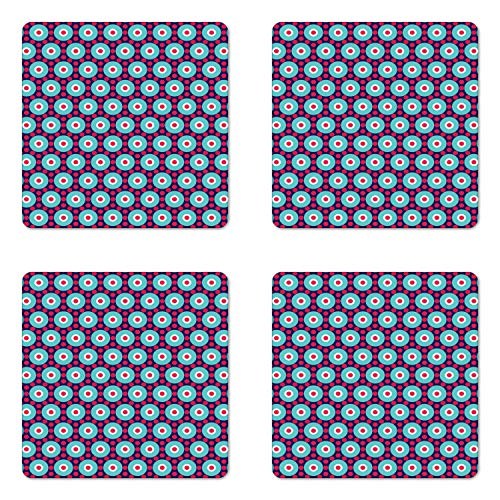 (Lunarable Abstract Coaster Set of Four, Retro Breeze Pattern with Geometrical Shapes Circle and Rounds, Square Hardboard Gloss Coasters for Drinks, Indigo Seafoam Dark Pink White)