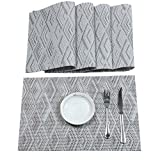 HEBE Placemat Set of 6, Placemats for Dining Table Washable Heat Resistant Indoor Outdoor Placemat Durable Crossweave Woven Vinyl Kitchen Table Mats