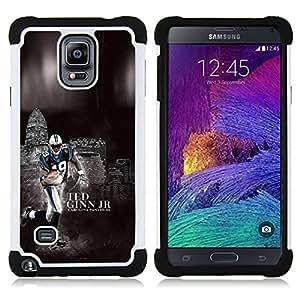 """Samsung Galaxy Note 4 IV / SM-N910 - 3 en 1 impreso colorido de Altas Prestaciones PC Funda chaqueta Negro cubierta gel silicona suave (Fútbol 19 Ginn"""")"""