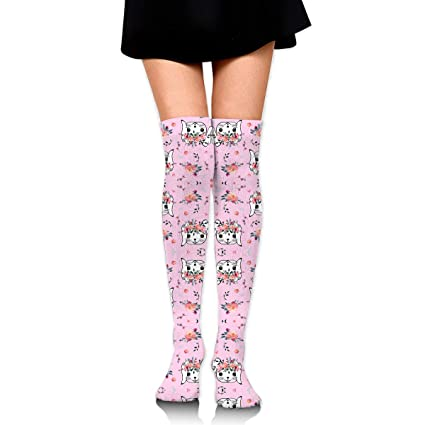 69185fa870f0d Image Unavailable. Image not available for. Color: Easter Bunny Head Pink  Over Knee Thigh Socks High Thigh Women ...