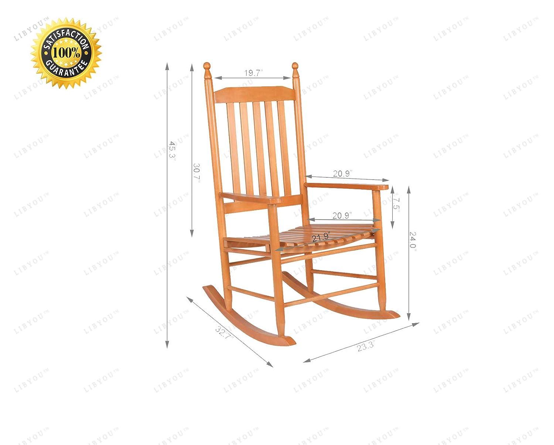 Patio Chair,Garden Backyard Furniture,Indoor Outdoor Rocking Chair,Patio Backyard Chair,Wooden Rocking Chair,Glider,Patio Garden Chair Porch Rocker LIBYOU/_Rocking Chair,Wood Rocking Chair