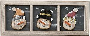 Kilipes Snowman Wood Sign Christmas Hanging Wall Decor Rustic Snowman Wood Decorations Xmas Holiday Wall Decoration