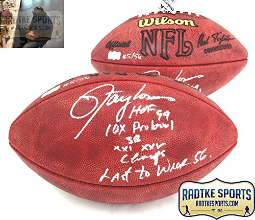 Lawrence Taylor Autographed/Signed New York Giants Authentic Football with 4 Career Stats Inscription - LE ()