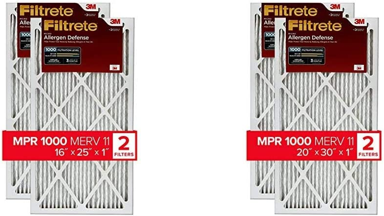 Filtrete 16x25x1, AC Furnace Air Filter, MPR 1000, Micro Allergen Defense, 2-Pack & 20x30x1, AC Furnace Air Filter, MPR 1000, Micro Allergen Defense, 2-Pack