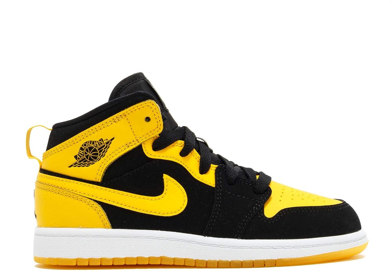 da2ab6388d Amazon.com   Nike Boy's Air Jordan 1 (Mid) Basketball Shoes Black/Varsity  Maize-White 1.5Y   Basketball