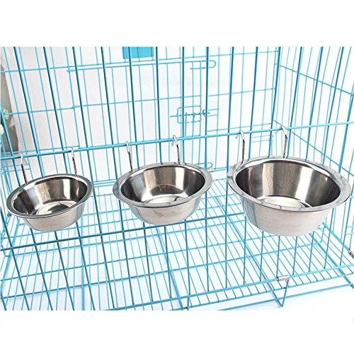 LANDGOO Stainless Steel Hanging Feeding Bowl Pet Cat Bird Dog Food Water Rabbits Bunny Kennel Cage Cup Stainless Steel - Bunny Tray