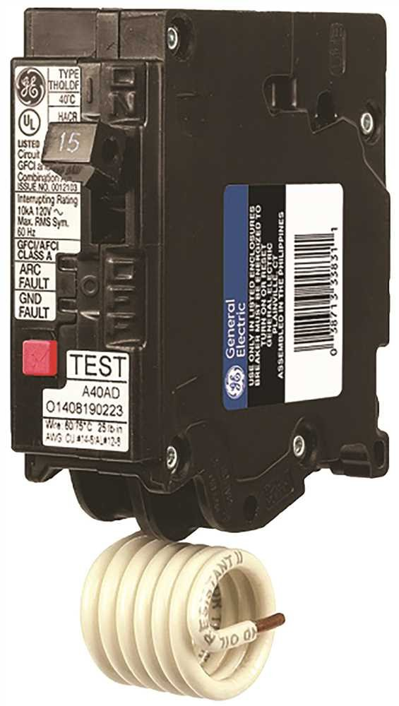GE THQL1115DF Single-Pole Dual Function Plug-in Afci/Gfci Circuit Breaker, 120 Vac, 15 Amp, 10 Kaic