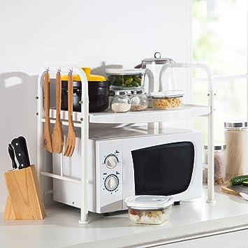 LANGRIA 2 Tier Kitchen Microwave Shelves Microwave Storage Shelf Wire Shelf  With 2 Height