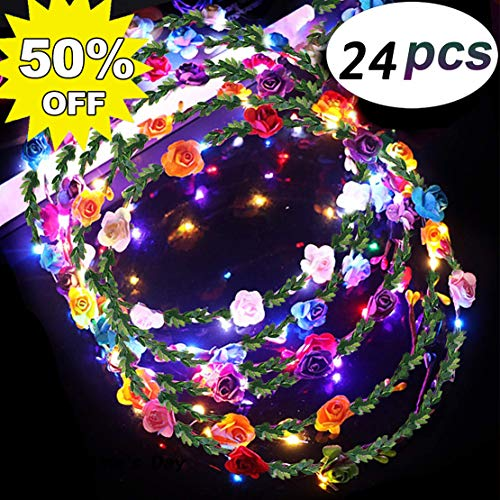 24 Pack LED Flower Headband Crown Glow in The Dark Party Favors Adjustable Flower Wreath Headband 10 LED Flower Headpiece Headdress for Girls Women Wedding Dress Up Gift Graduation Party Supplies]()