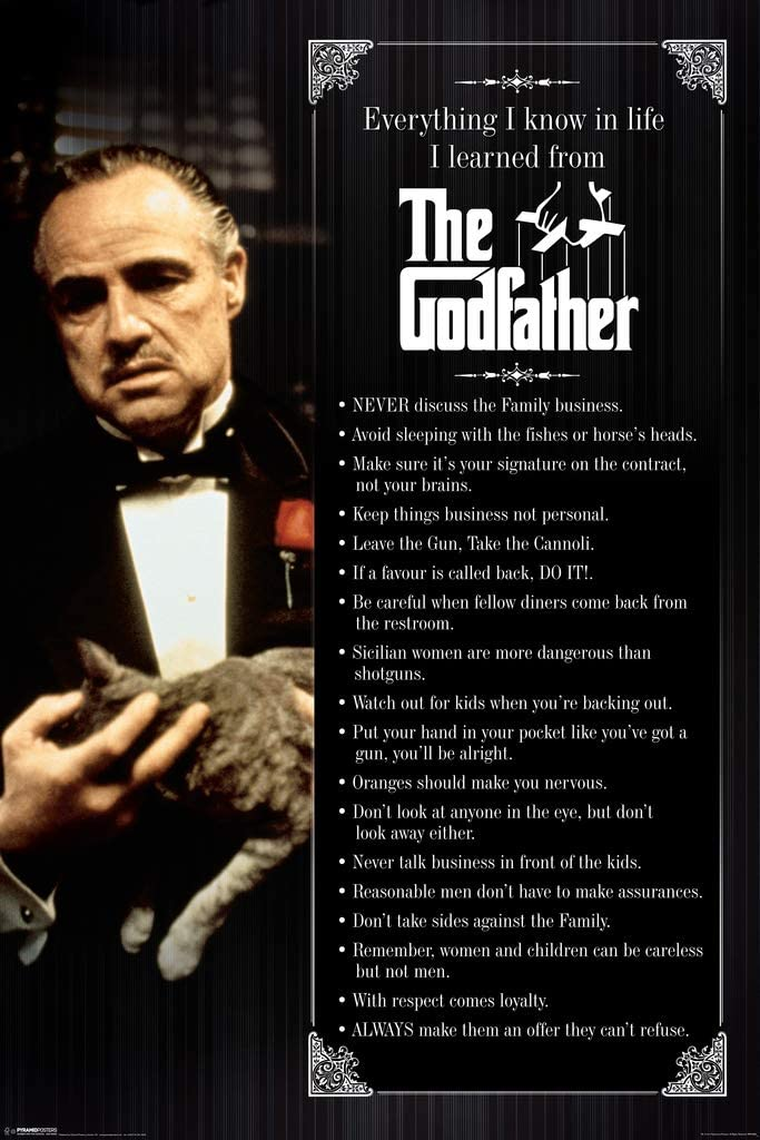 Pyramid America The Godfather Everything I Know in Life Movie Cool Wall Decor Art Print Poster 24x36