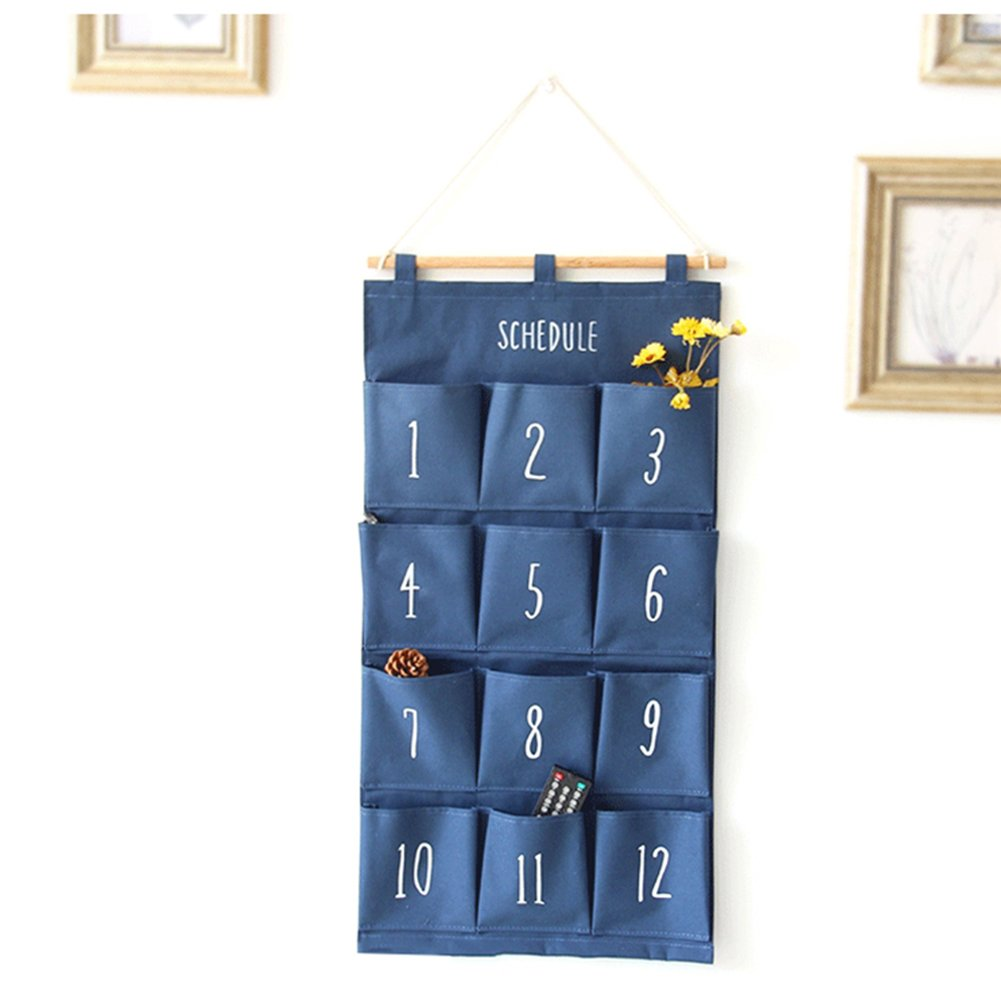 Yiuswoy Over the Door 12 Pockets Sturdy Hanging Organizer,Multi-Purpose Storage Bag Back to School Office Bedroom Kitchen - Blue