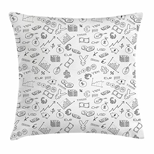 Money Throw Pillow Cushion Cover by Ambesonne, Monochrome Pattern with Euro Dollar Yen Symbols Coins Piggy Bank Stock Graphs Doodle, Decorative Square Accent Pillow Case, 24 X 24 Inches, Black White
