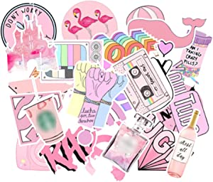 50Pcs Pink Stickers Cute Sticker Pack Waterproof Laptop Stickers Graffiti Vinyl Sticker Bag Luggage Guitar Scrapbook Water Bottle