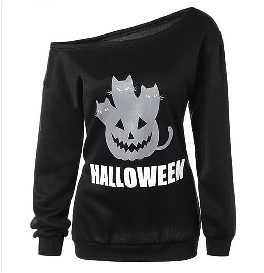 Womens Halloween Sweatshirts Pumpkin Shirts Off Shoulder Pullover Tops Halloween Women Slouchy Shirts