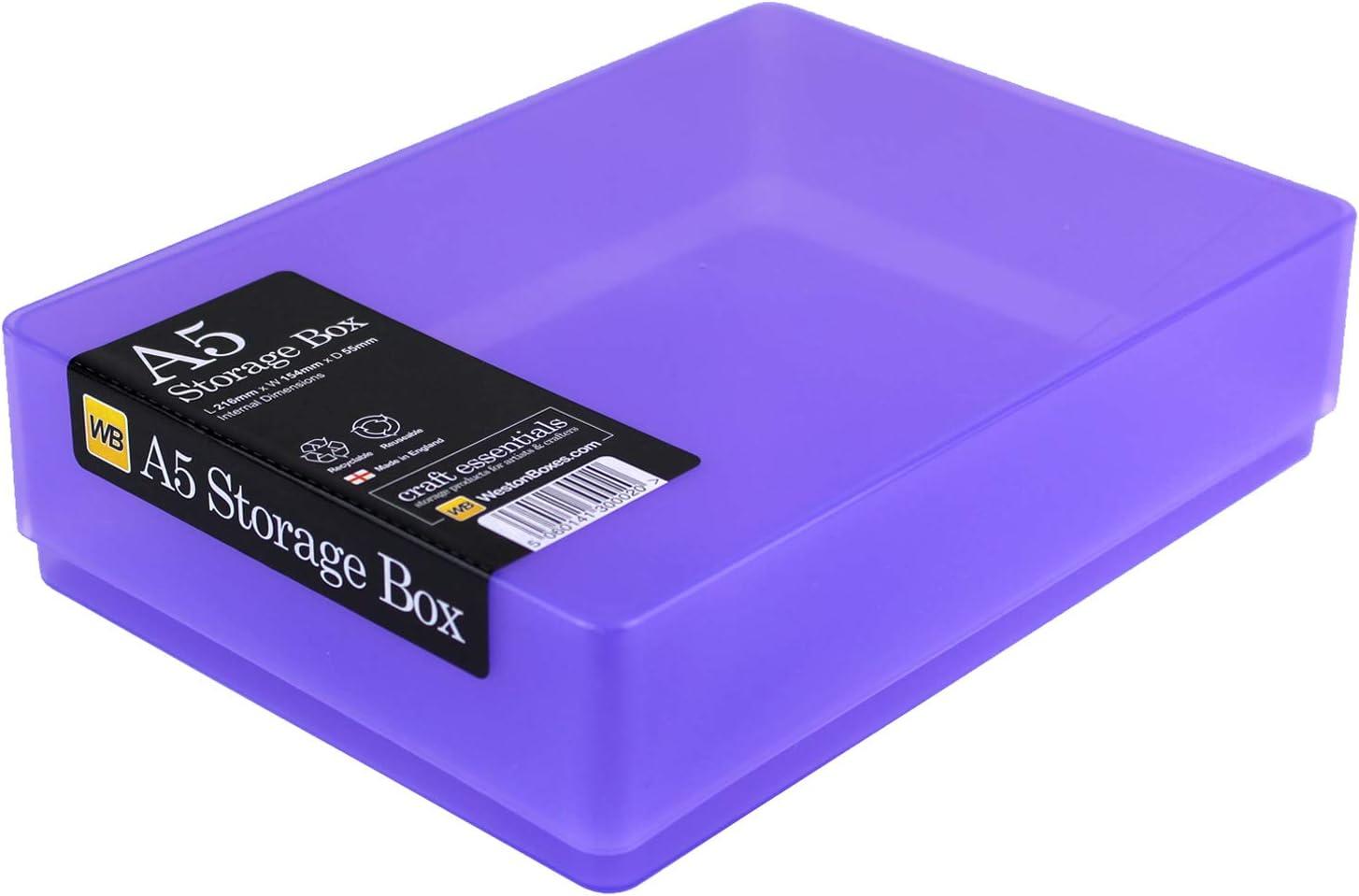 WestonBoxes Aufbewahrungsbox aus Kunststoff f/ür 500 Blatt 216x154x66mm DIN A5 Rot, 5 St/ück