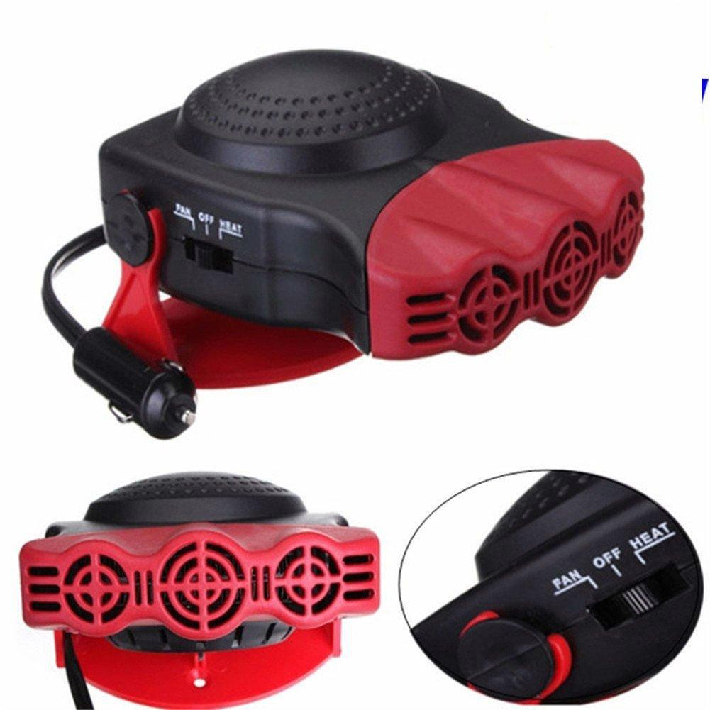 TKSTAR Chauffage Voiture 12V, Portable, Convecteur électrique, sbrinatore avec Ventilateur pour vitres, Chaud/Froid, 150W, 180° Rotary, résistance en céramique, 711038 Rouge Convecteur électrique 150W
