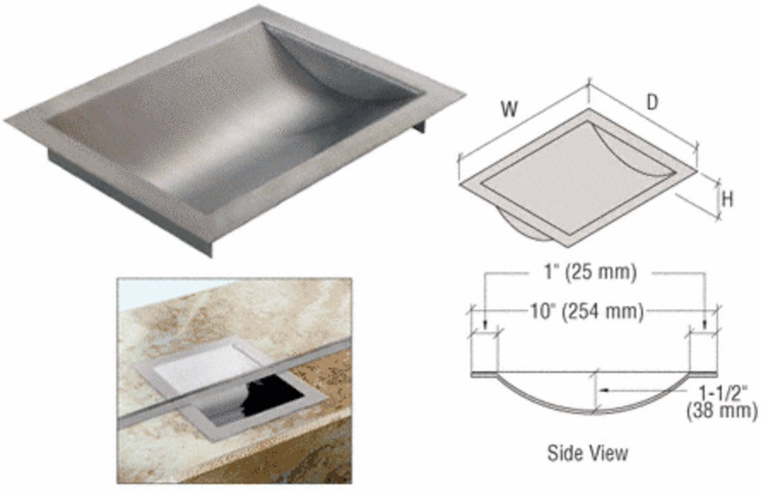 CRL Standard 12'' Wide X 10'' Deep X 1-9/16'' High Brushed Stainless Finish Drop-In Deal Tray by CRL (Image #3)