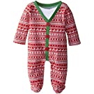 Mud Pie Baby-Boys Newborn Cardigan Footed One Piece, Red, 0-3 Months